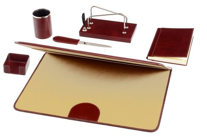 Leather Desk Set Brown