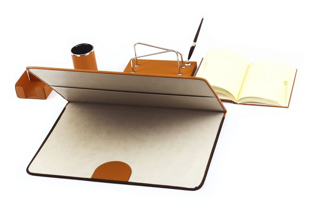 Leather desk set orange