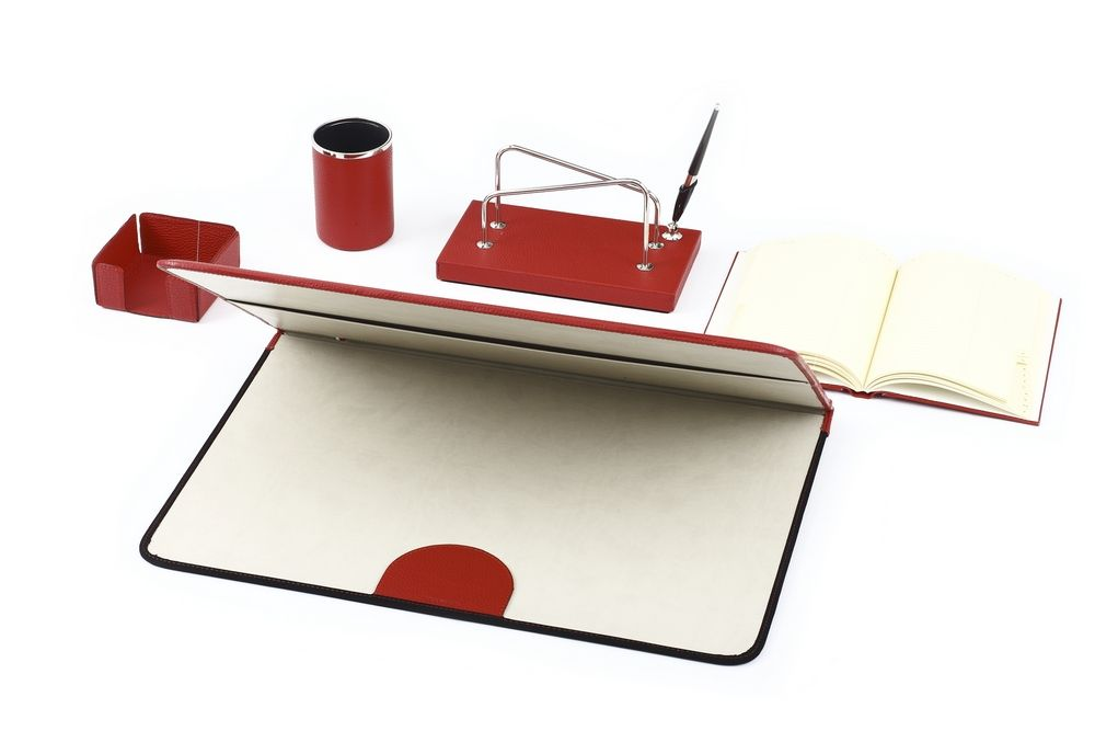 Red Leather Desk Set